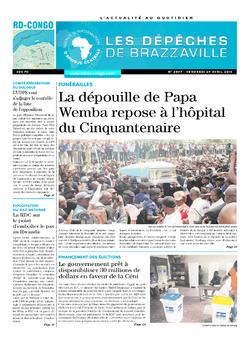 Les Dépêches de Brazzaville : Édition kinshasa du 29 avril 2016