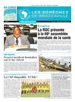 Les Dépêches de Brazzaville : Édition kinshasa du 25 mai 2016