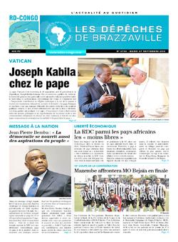 Les Dépêches de Brazzaville : Édition kinshasa du 27 septembre 2016