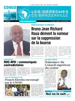 Les Dépêches de Brazzaville : Édition brazzaville du 29 septembre 2016