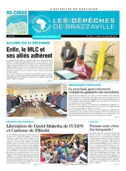 Les Dépêches de Brazzaville : Édition kinshasa du 16 janvier 2017