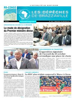 Les Dépêches de Brazzaville : Édition kinshasa du 18 janvier 2017