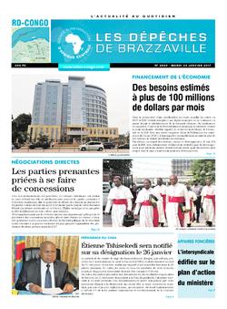 Les Dépêches de Brazzaville : Édition kinshasa du 24 janvier 2017