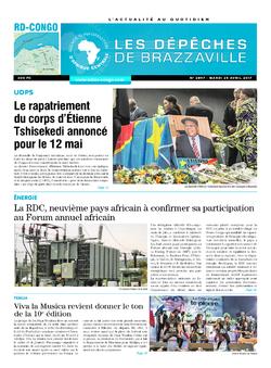 Les Dépêches de Brazzaville : Édition kinshasa du 25 avril 2017