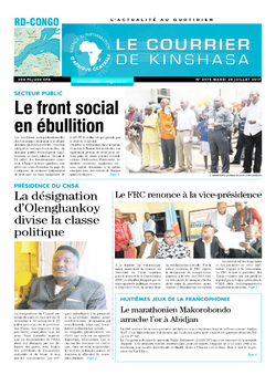 Les Dépêches de Brazzaville : Édition le courrier de kinshasa du 25 juillet 2017