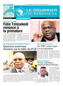 Les Dépêches de Brazzaville : Édition le courrier de kinshasa du 17 août 2017