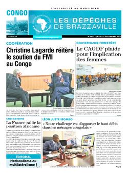 Les Dépêches de Brazzaville : Édition brazzaville du 21 septembre 2017