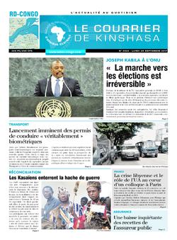 Les Dépêches de Brazzaville : Édition le courrier de kinshasa du 25 septembre 2017