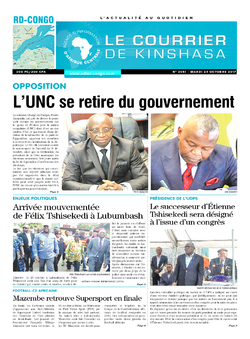Les Dépêches de Brazzaville : Édition le courrier de kinshasa du 24 octobre 2017