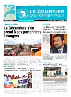 Les Dépêches de Brazzaville : Édition le courrier de kinshasa du 23 novembre 2017
