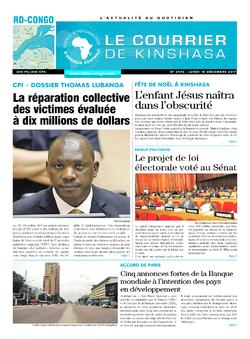 Les Dépêches de Brazzaville : Édition le courrier de kinshasa du 18 décembre 2017