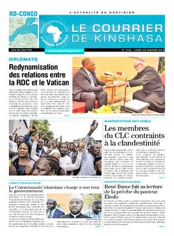 Les Dépêches de Brazzaville : Édition le courrier de kinshasa du 22 janvier 2018