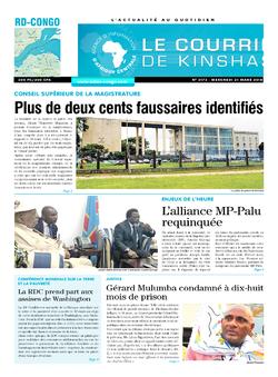 Les Dépêches de Brazzaville : Édition le courrier de kinshasa du 21 mars 2018