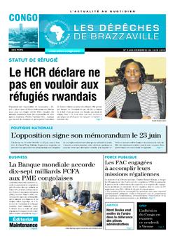 Les Dépêches de Brazzaville : Édition brazzaville du 22 juin 2018