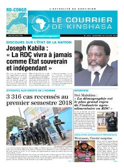 Les Dépêches de Brazzaville : Édition le courrier de kinshasa du 20 juillet 2018