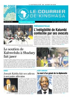 Les Dépêches de Brazzaville : Édition le courrier de kinshasa du 20 août 2018