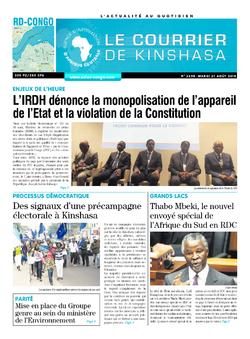 Les Dépêches de Brazzaville : Édition le courrier de kinshasa du 21 août 2018