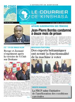 Les Dépêches de Brazzaville : Édition le courrier de kinshasa du 18 septembre 2018