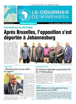 Les Dépêches de Brazzaville : Édition le courrier de kinshasa du 19 septembre 2018