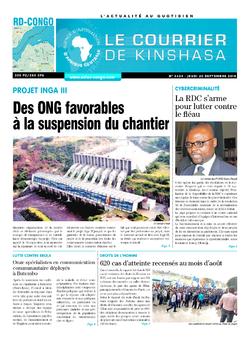 Les Dépêches de Brazzaville : Édition le courrier de kinshasa du 20 septembre 2018
