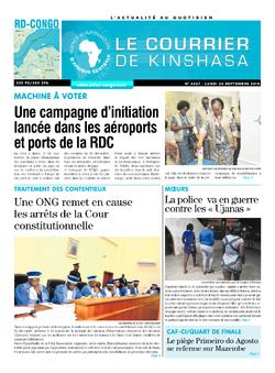 Les Dépêches de Brazzaville : Édition le courrier de kinshasa du 24 septembre 2018