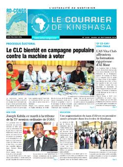 Les Dépêches de Brazzaville : Édition le courrier de kinshasa du 25 septembre 2018