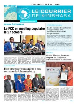 Les Dépêches de Brazzaville : Édition le courrier de kinshasa du 23 octobre 2018