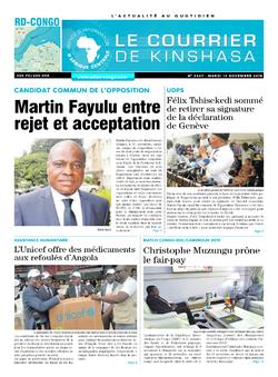 Les Dépêches de Brazzaville : Édition le courrier de kinshasa du 13 novembre 2018
