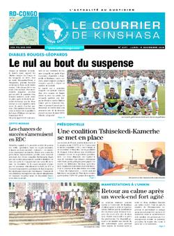 Les Dépêches de Brazzaville : Édition le courrier de kinshasa du 19 novembre 2018