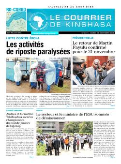 Les Dépêches de Brazzaville : Édition le courrier de kinshasa du 20 novembre 2018