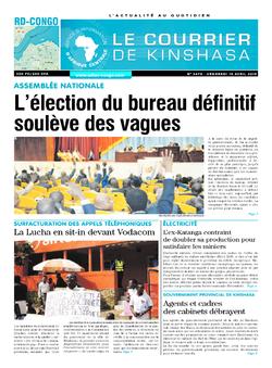 Les Dépêches de Brazzaville : Édition le courrier de kinshasa du 19 avril 2019