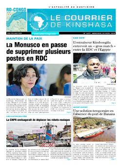 Les Dépêches de Brazzaville : Édition le courrier de kinshasa du 24 avril 2019