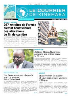 Les Dépêches de Brazzaville : Édition le courrier de kinshasa du 20 mai 2019