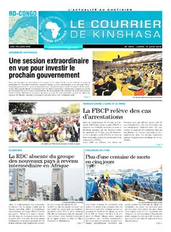 Les Dépêches de Brazzaville : Édition le courrier de kinshasa du 17 juin 2019