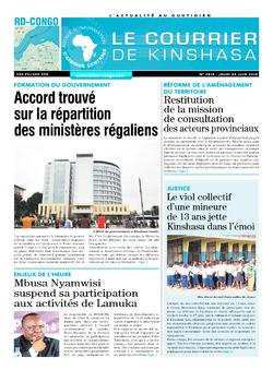 Les Dépêches de Brazzaville : Édition le courrier de kinshasa du 20 juin 2019