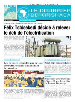 Les Dépêches de Brazzaville : Édition le courrier de kinshasa du 21 août 2019