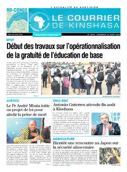 Les Dépêches de Brazzaville : Édition le courrier de kinshasa du 23 août 2019