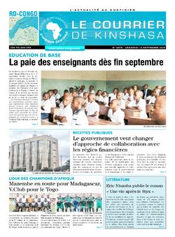 Les Dépêches de Brazzaville : Édition le courrier de kinshasa du 13 septembre 2019