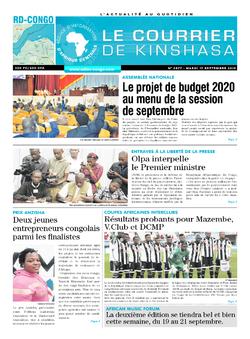 Les Dépêches de Brazzaville : Édition le courrier de kinshasa du 17 septembre 2019