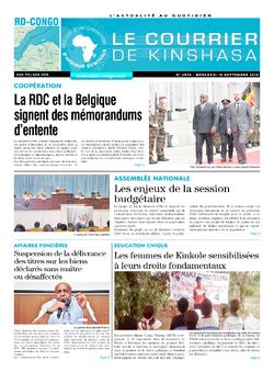 Les Dépêches de Brazzaville : Édition le courrier de kinshasa du 18 septembre 2019