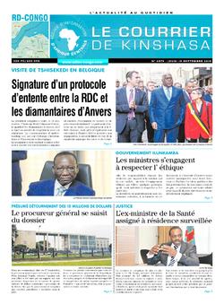 Les Dépêches de Brazzaville : Édition le courrier de kinshasa du 19 septembre 2019