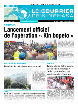 Les Dépêches de Brazzaville : Édition le courrier de kinshasa du 21 octobre 2019