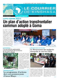 Les Dépêches de Brazzaville : Édition le courrier de kinshasa du 23 octobre 2019