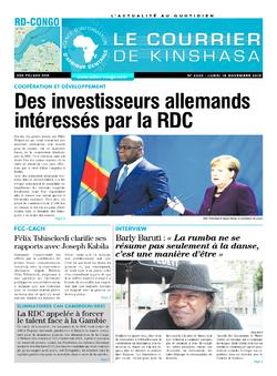 Les Dépêches de Brazzaville : Édition le courrier de kinshasa du 18 novembre 2019