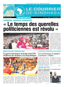 Les Dépêches de Brazzaville : Édition le courrier de kinshasa du 19 novembre 2019