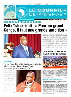 Les Dépêches de Brazzaville : Édition le courrier de kinshasa du 16 décembre 2019