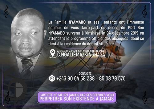 Annonce publiée sur Facebook une semaine après le décès de Ben Nyamabo
