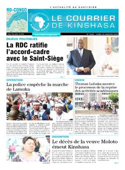 Les Dépêches de Brazzaville : Édition le courrier de kinshasa du 20 janvier 2020
