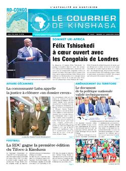 Les Dépêches de Brazzaville : Édition le courrier de kinshasa du 21 janvier 2020