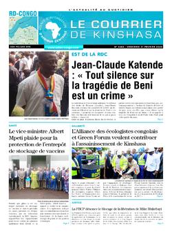 Les Dépêches de Brazzaville : Édition le courrier de kinshasa du 21 février 2020
